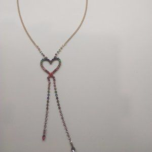 Betsey Johnson New Rhinestone Heart Necklace